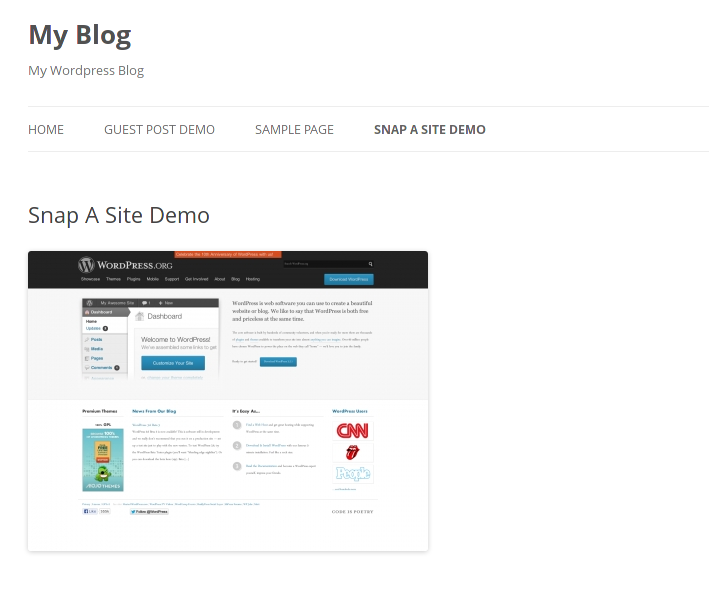Activted demo for Snap A Site on Front site.