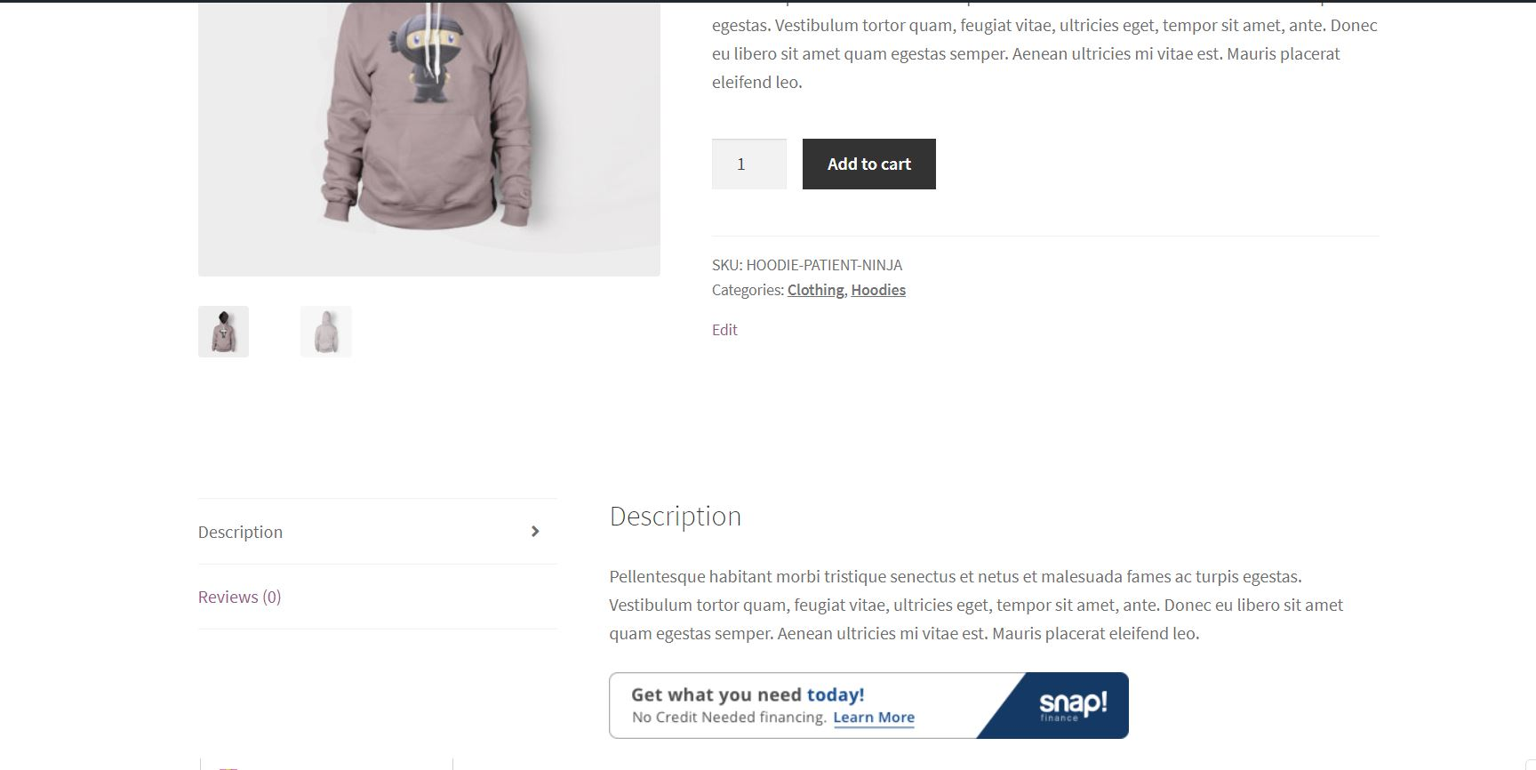 Banner on product page after shortcode is placed.