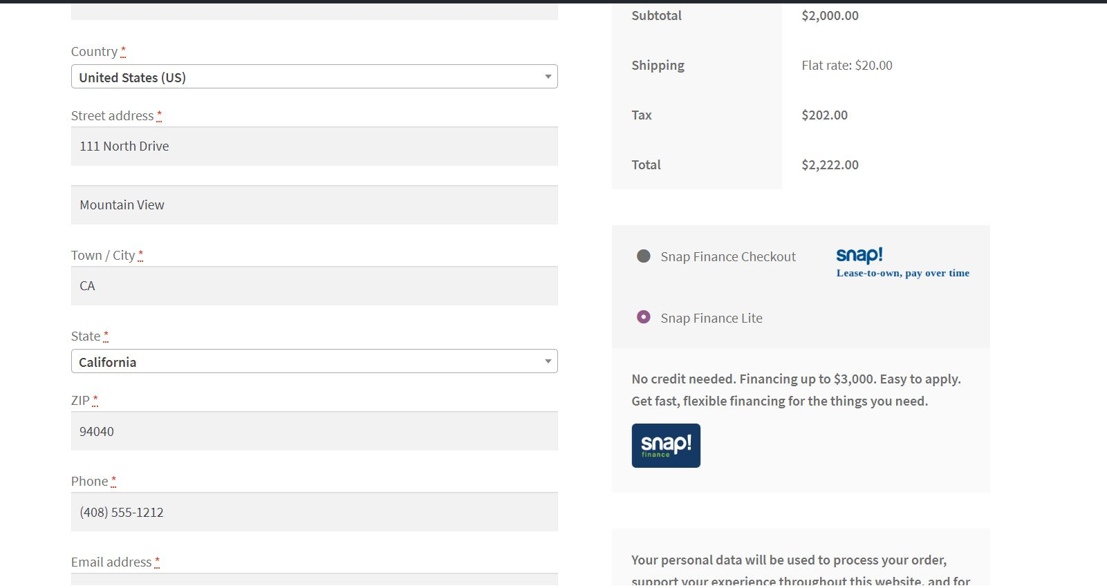 Checkout page Payment method.