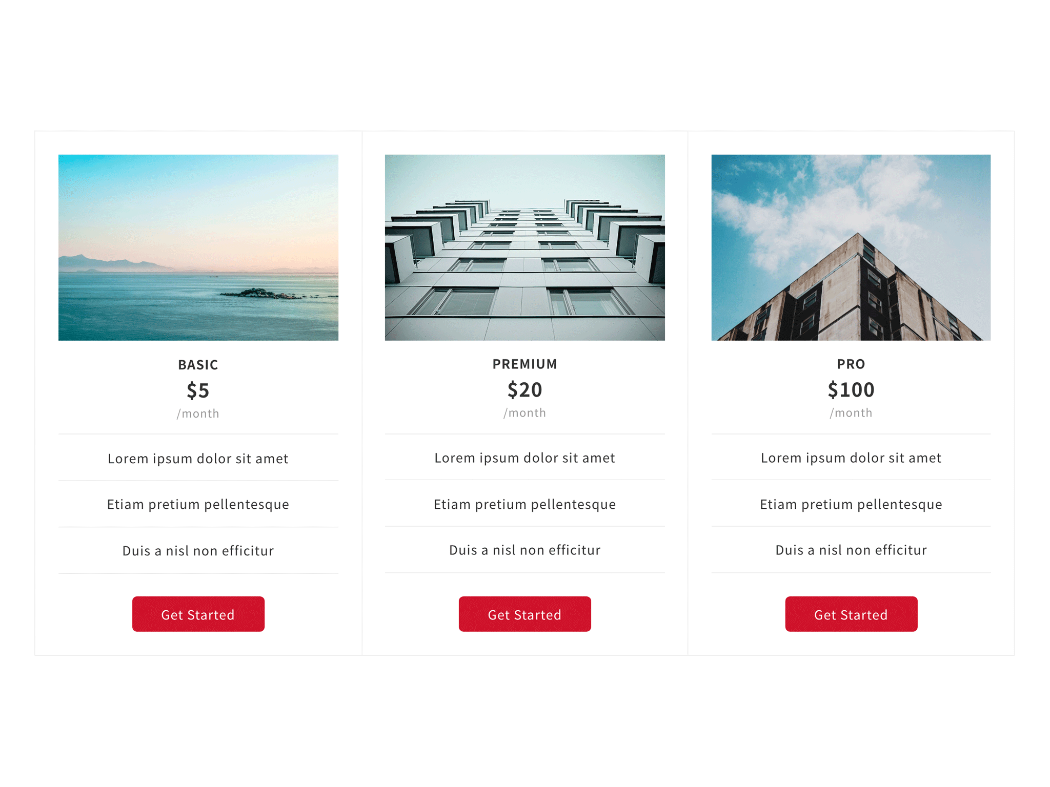 Pricing table block (The number of columns can be increased or decreased freely)