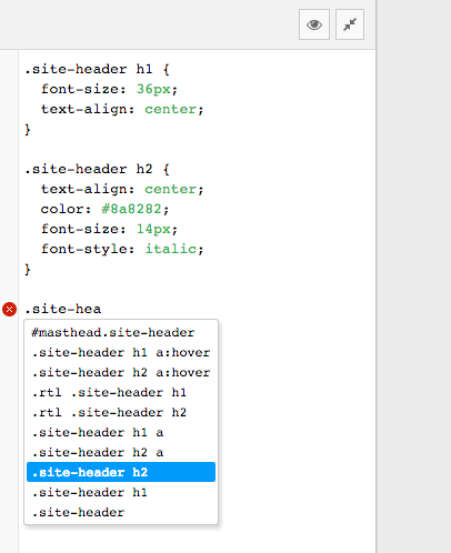 Code completion for all your theme's selectors.