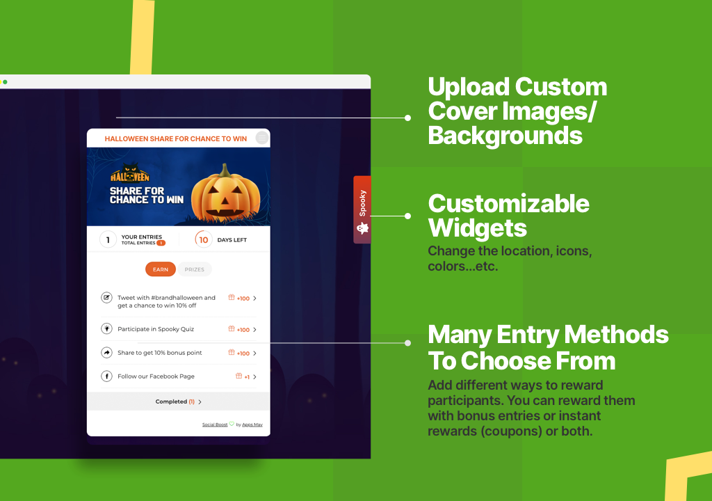 Display Widget on Website- Reward social sharing & actions.