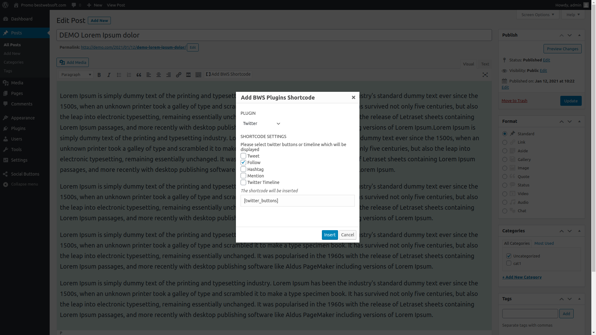 Adding Social Buttons shortcode to your post or page.