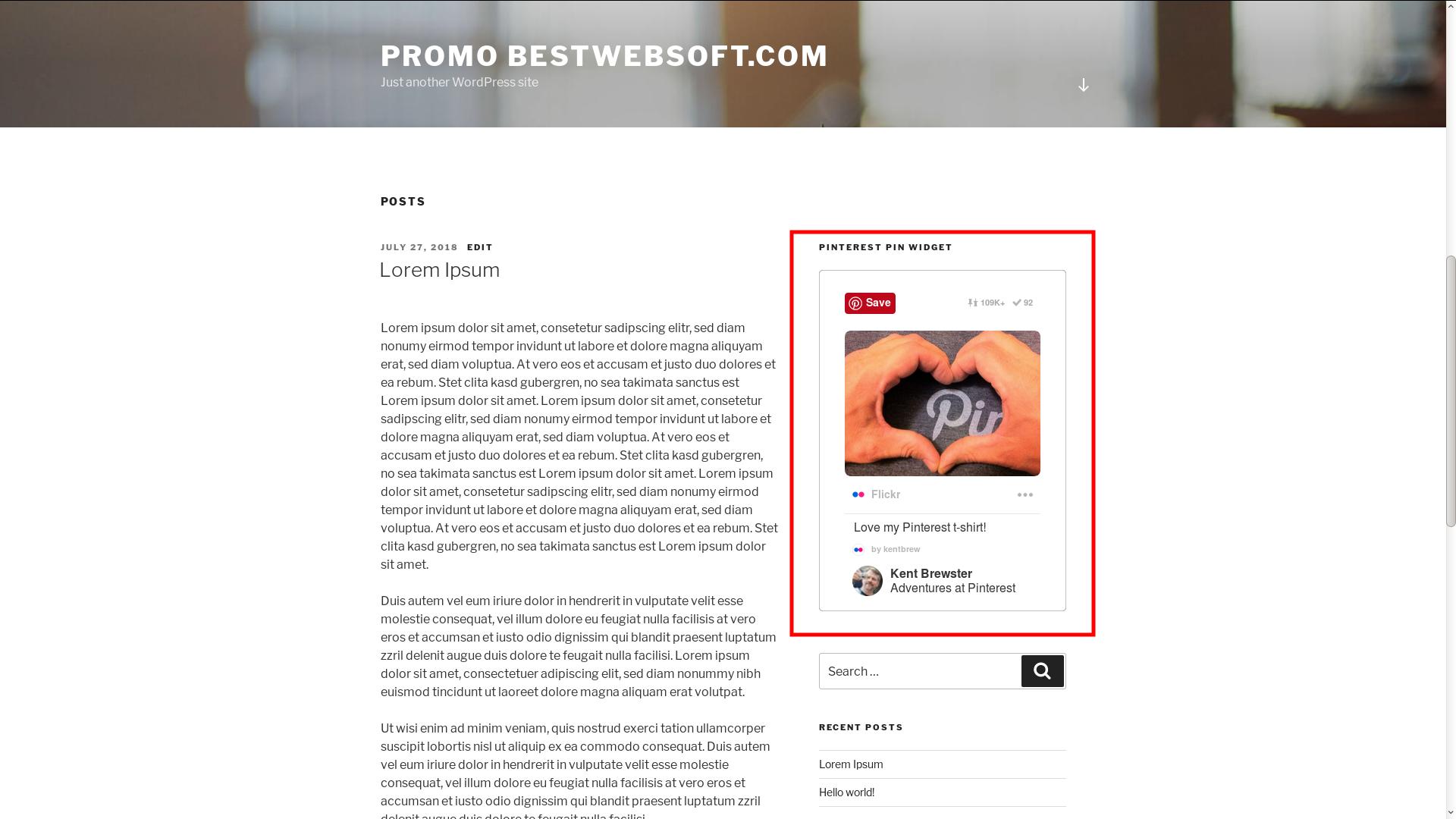 Displaying Pinterest Pin widget.