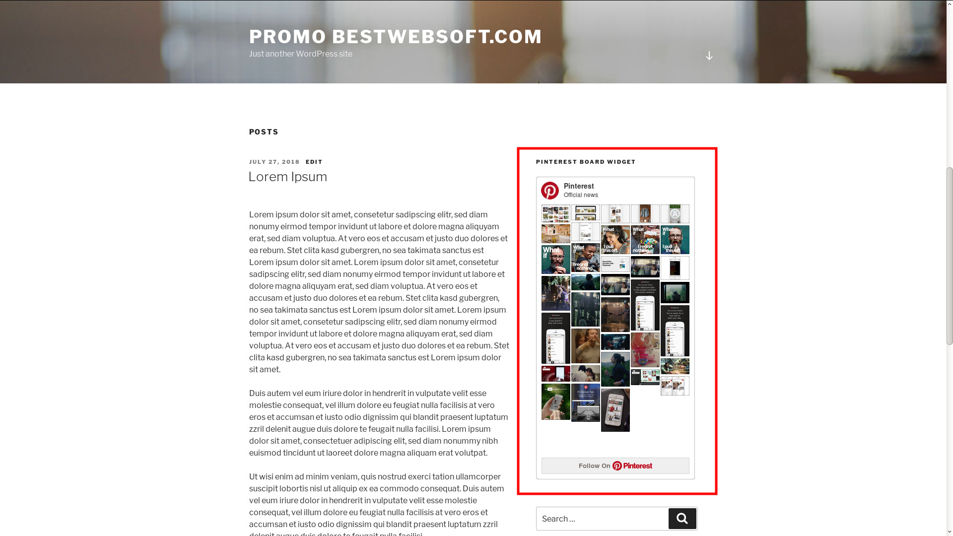 Displaying Pinterest Board widget.