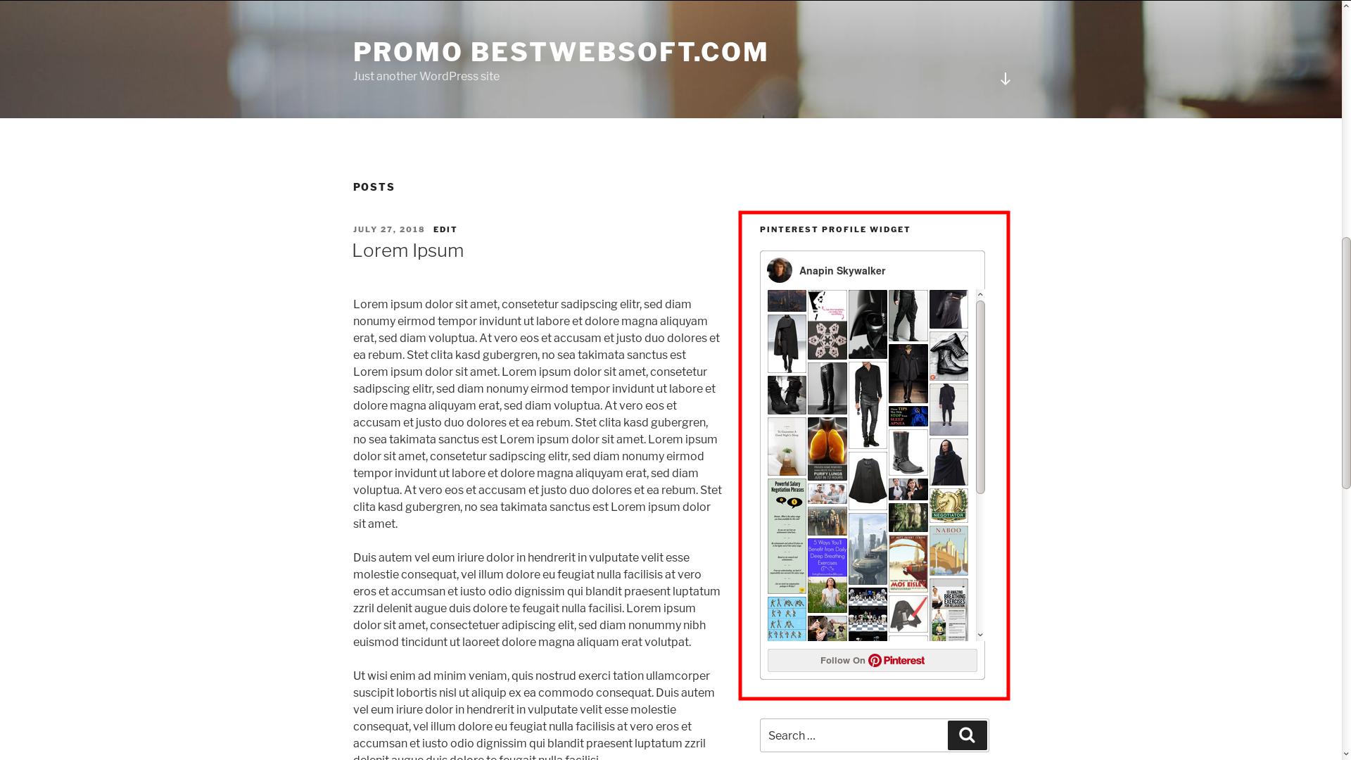 Displaying Pinterest Profile widget.