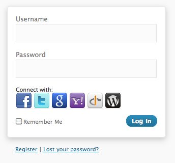 <strong>Login</strong> - on the login and registration form, buttons for 3rd party services are provided.