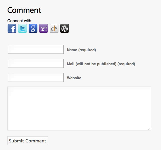 <strong>Comment</strong> - buttons for 3rd party services are also provided on the comment form.
