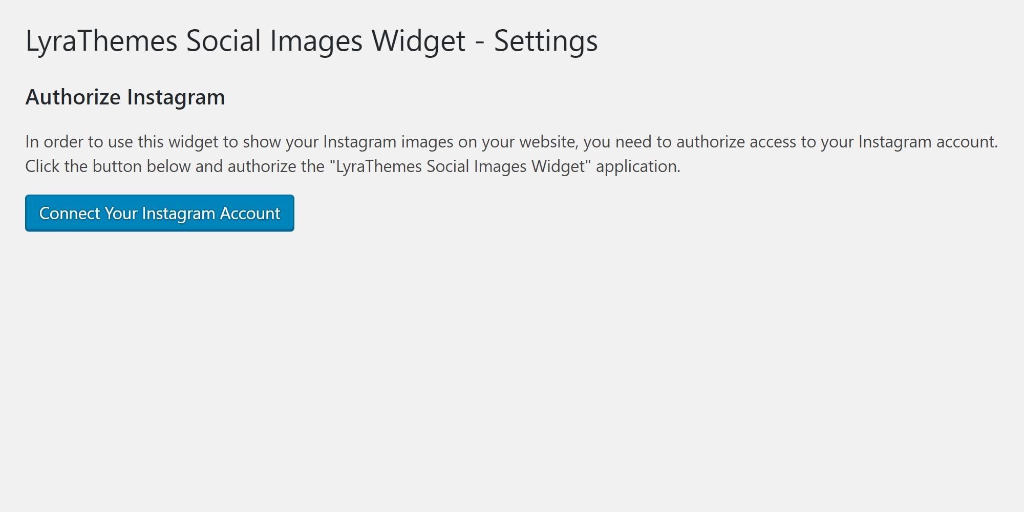 Authorize screen, Settings > Instagram Widget