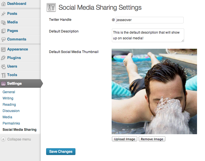Set your default image, description and twitter account from the 'Social Media Sharing' settings menu under 'Settings'