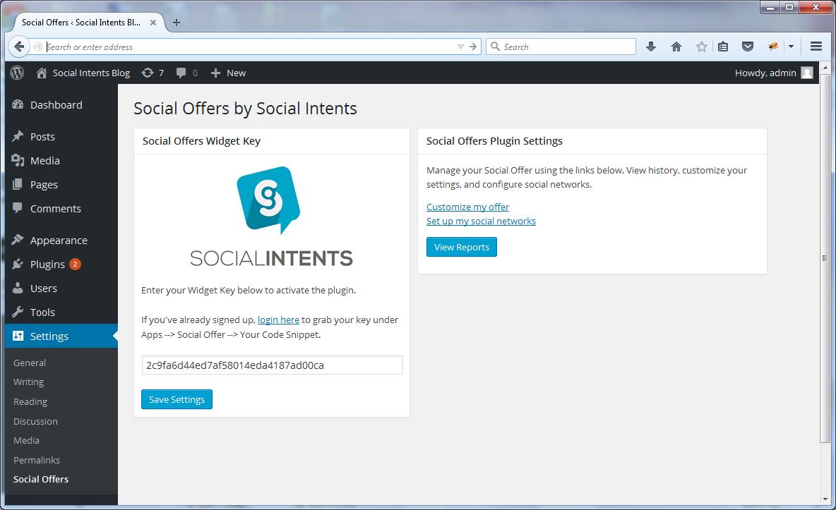 Social Offers Plugin Settings