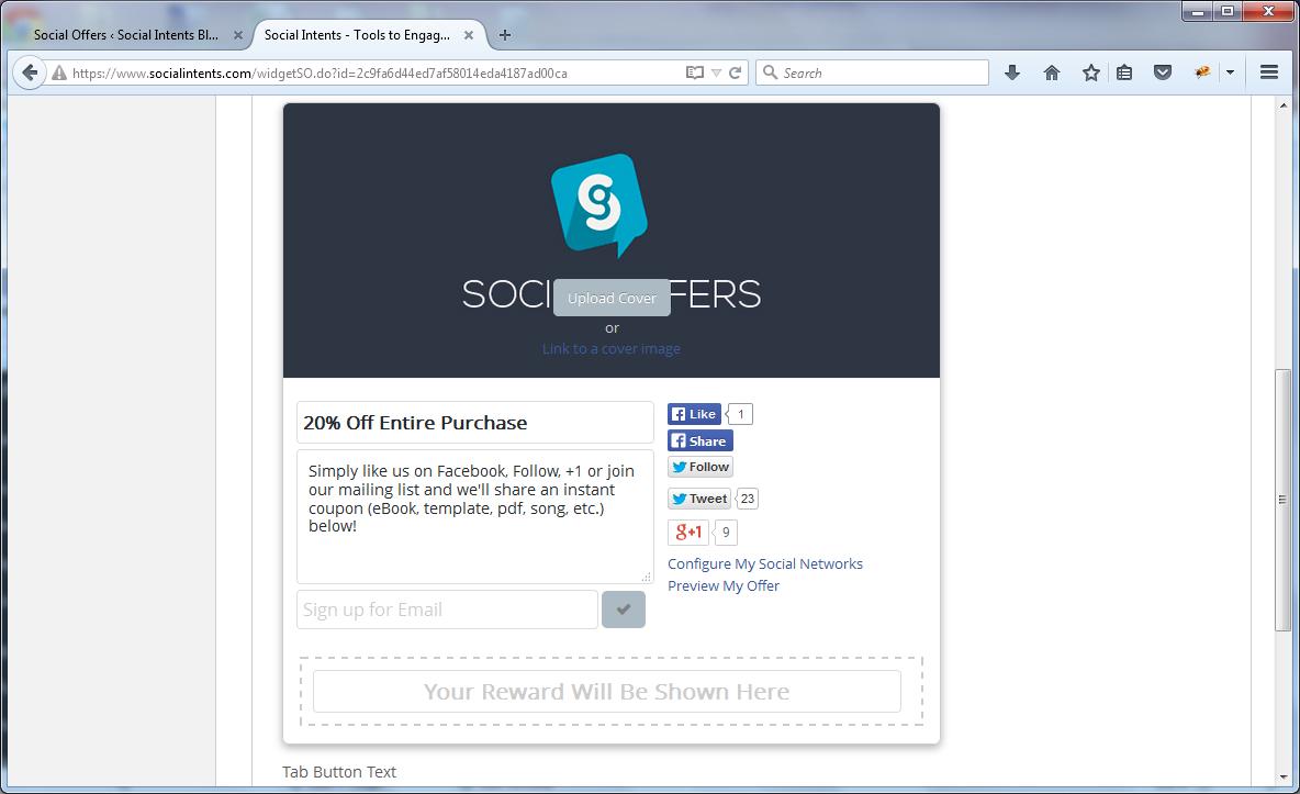 Social Offers Advanced settings