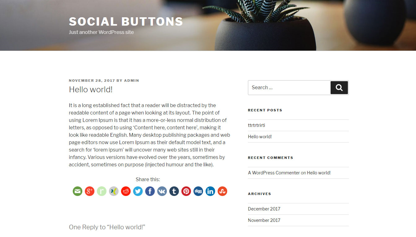 <em>Social Button on Posts and Pages under content</em>