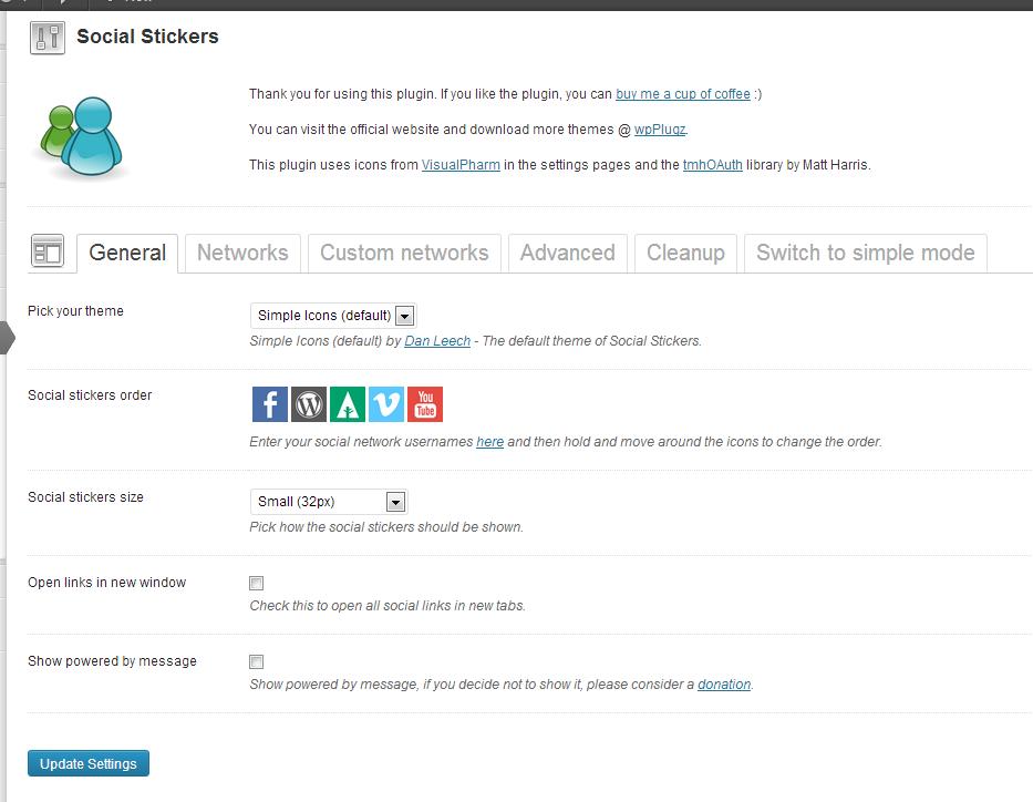 Plugin settings page (advanced plugin mode settings)