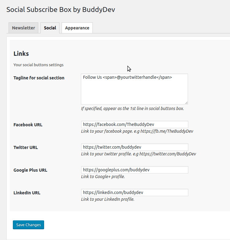 social subscribe box settings for social links screenshot-3.png
