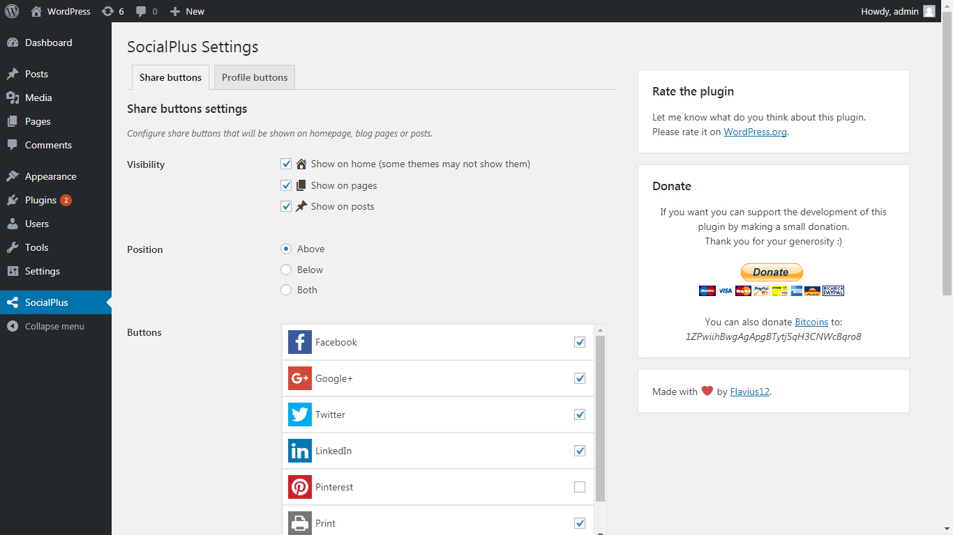 SocialPlus share buttons settings