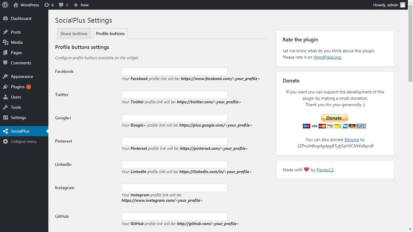 SocialPlus profile buttons settings