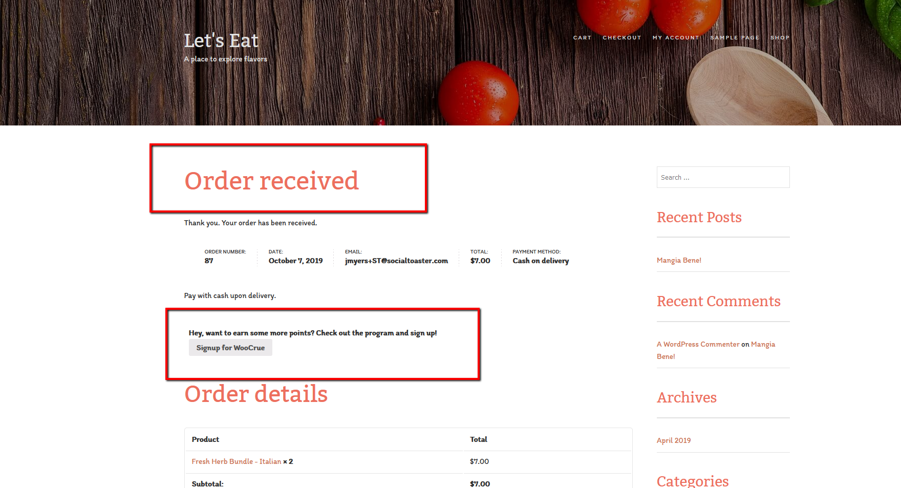 Prompt your users to sign up for your SocialToaster campaign after completing a purchase.