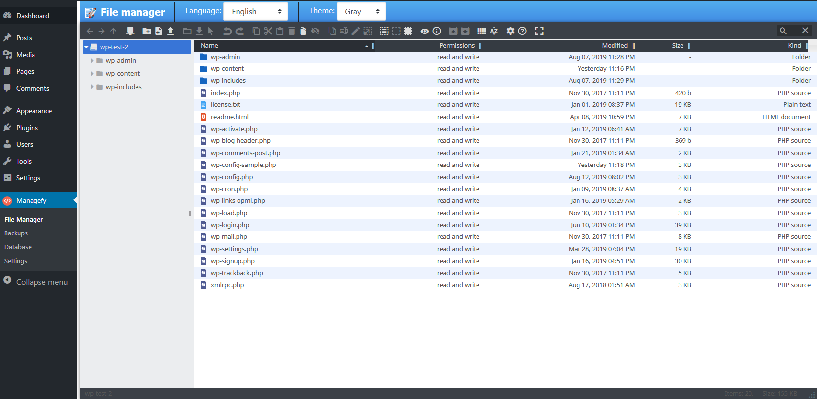 File manager panel