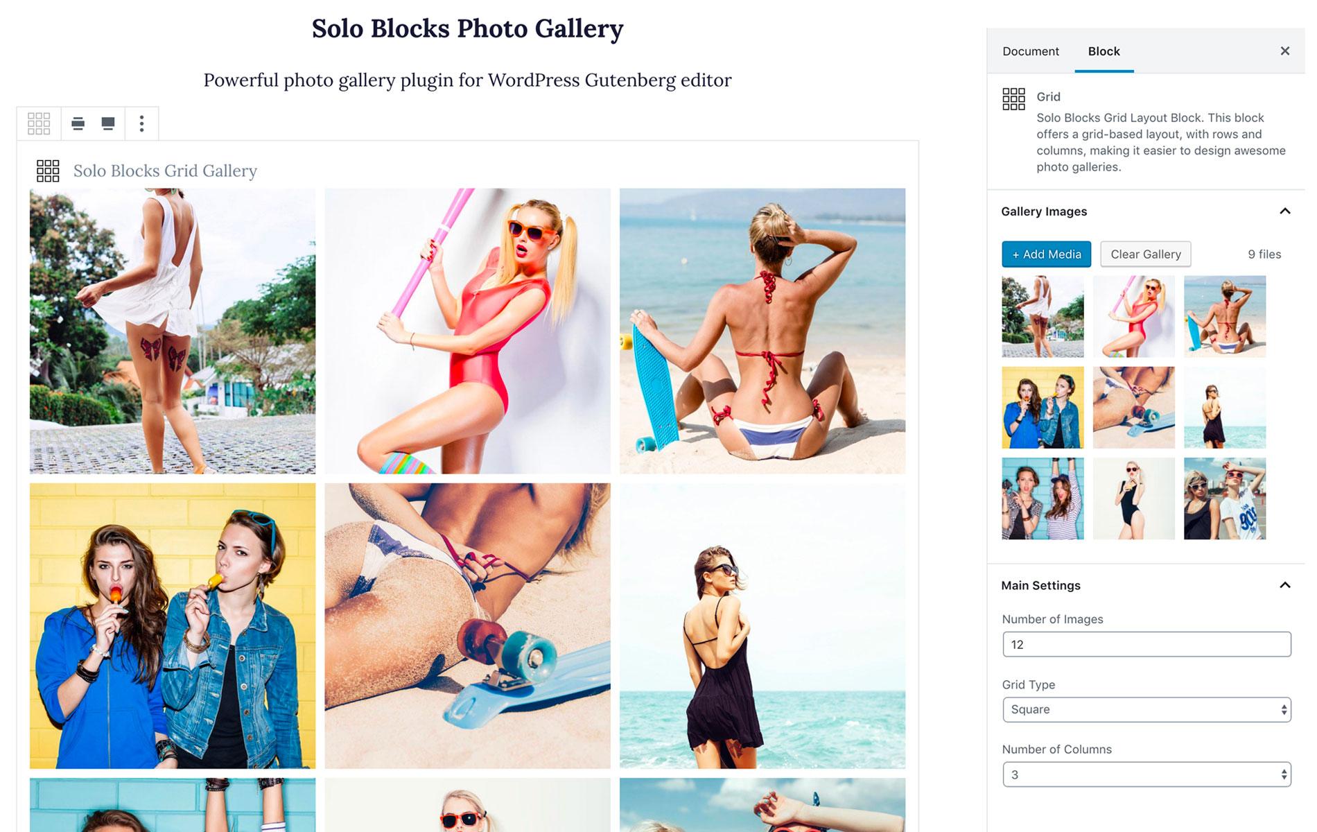 Photo gallery block settings in Gutenberg editor