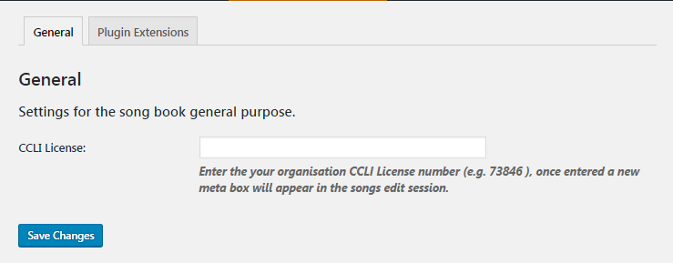 The Settings 'General' Tab for entry of your CCLI license reference.