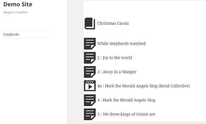 Front end Song book for Christmas carols showing one song with a youtube link embedded.