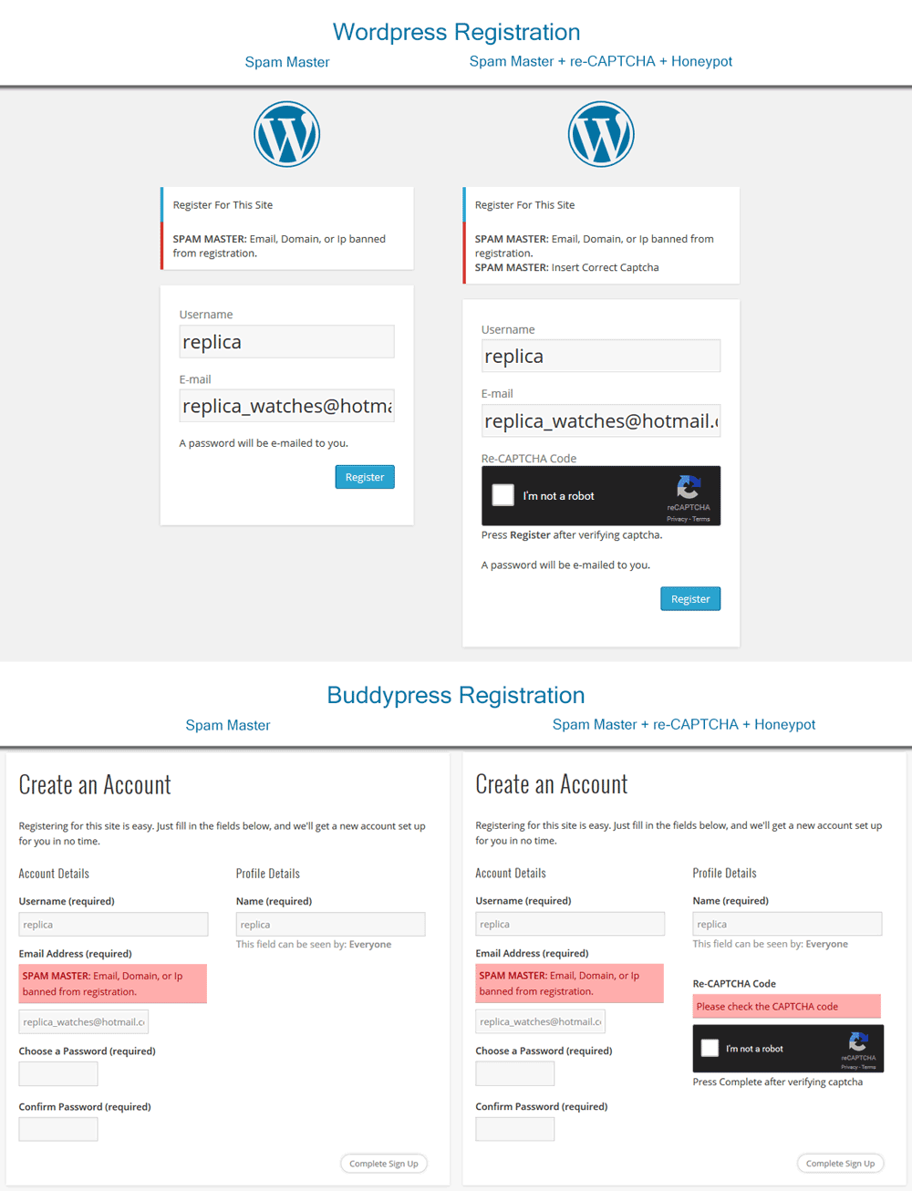 Wordpress Registration. Spam Master with re-CAPTCHA plus Honeypot traps