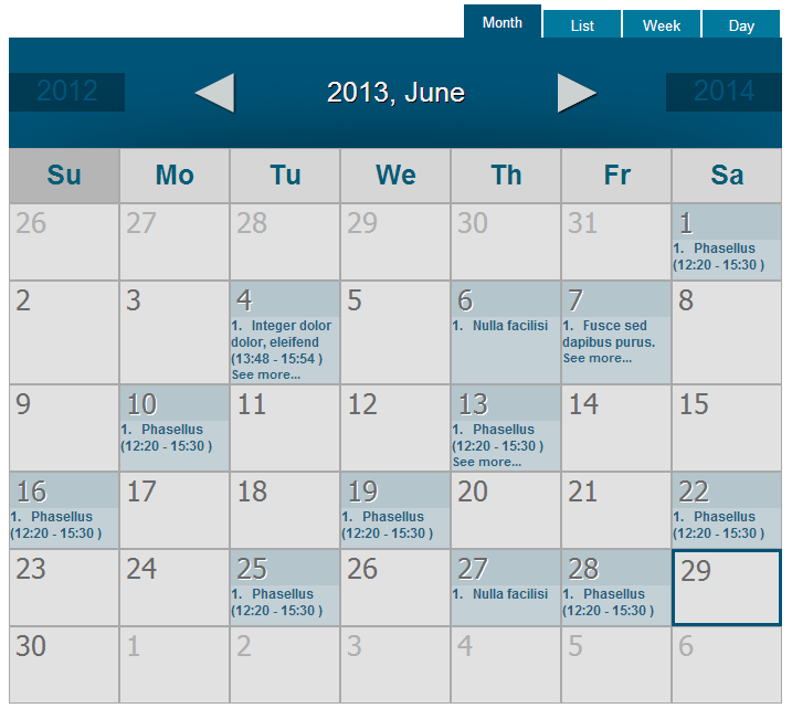 WordPress Event Calendar - Calendar