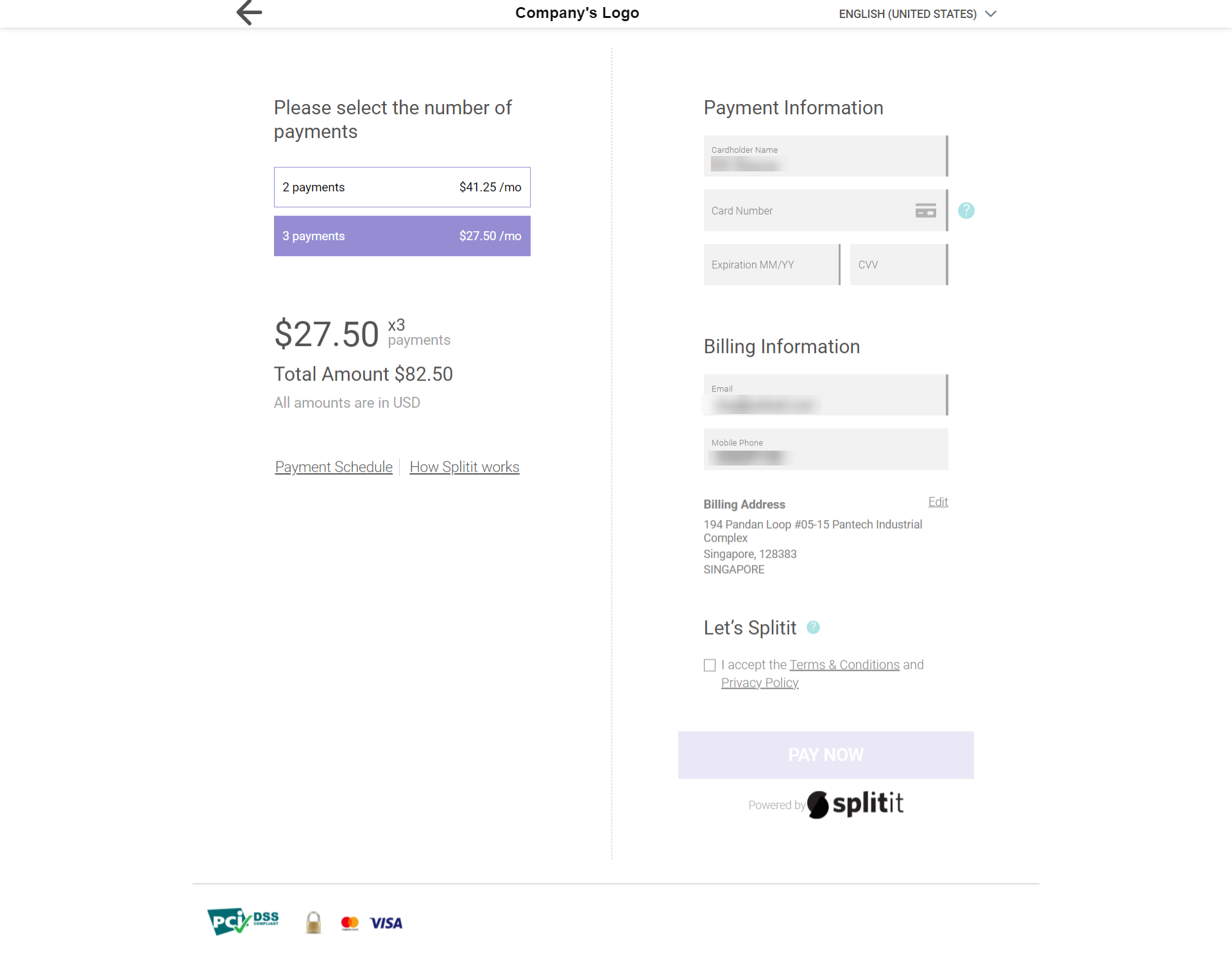 Splitit payment gateway page