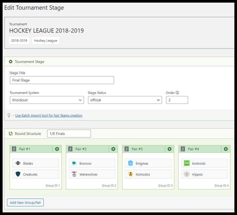 Tournament edit page