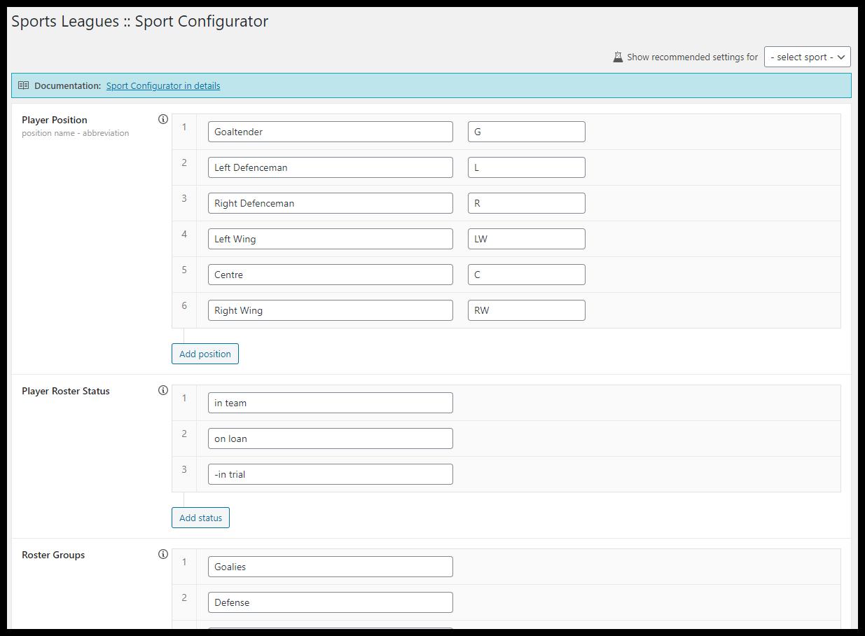 Sports Configurator