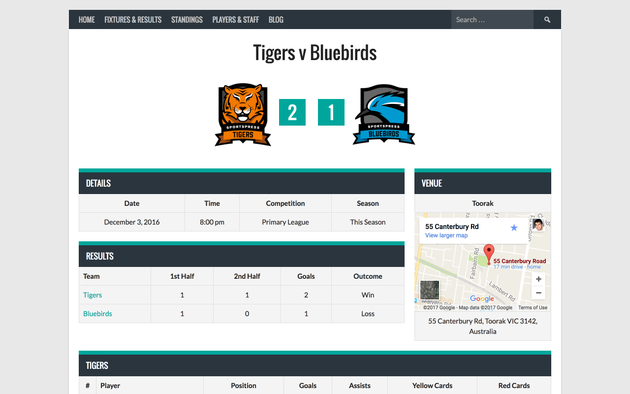 Schedule matches and display details, results, box scores, and a map to the venue.