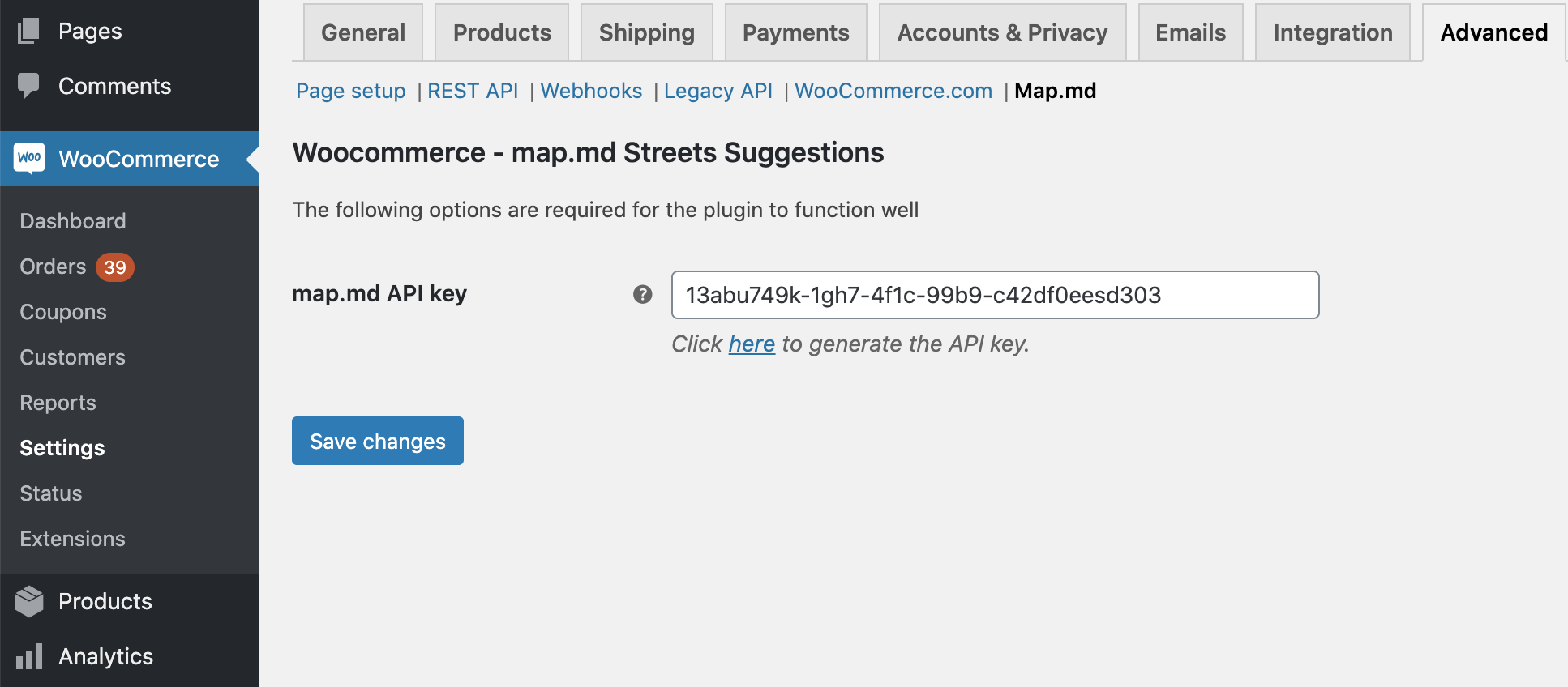 Streets Suggestions via map.md for WooCommerce