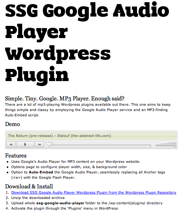 <strong>SSG Google Audio Player Settings Page</strong> Screenshot