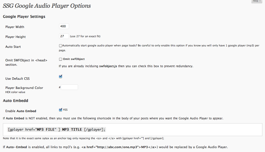 <strong>SSG Google Audio Player Demo Page</strong> Screenshot