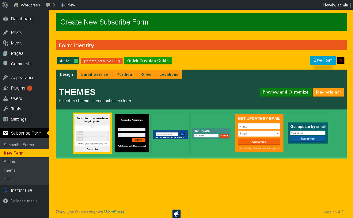 The subscribe form designer tab.