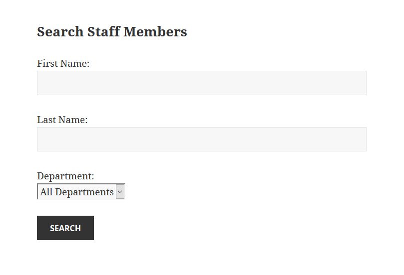 This is an example of the Staff Search being displayed.