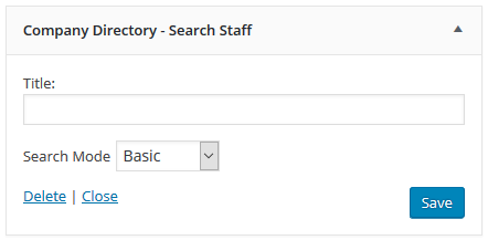 This is the Search Staff Widget.