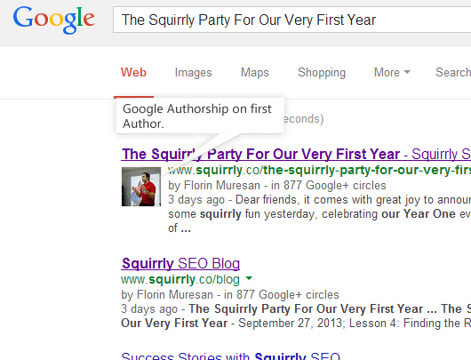 Google Rich Snippets with the author's image