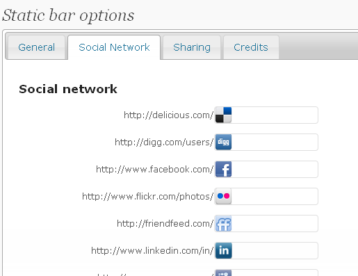 static toolbar backend : social network settings