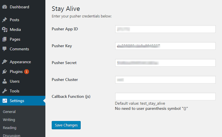 Plugin admin page
