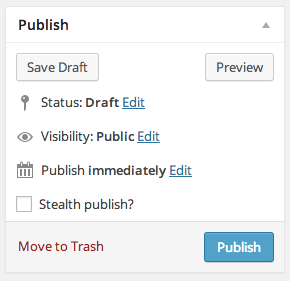 A screenshot of the 'Publish' sidebar box on the Add New Post admin page. The 'Stealth publish?' checkbox is integrated alongside the existing fields.