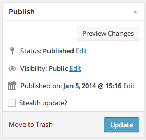 A screenshot of the 'Publish' sidebar box on the Edit Post admin page. The 'Stealth update?' checkbox is integrated alongside the existing fields.