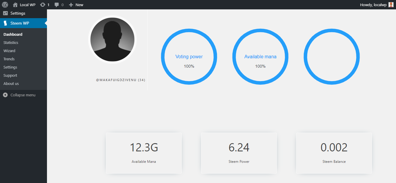 View of top of user dashboard