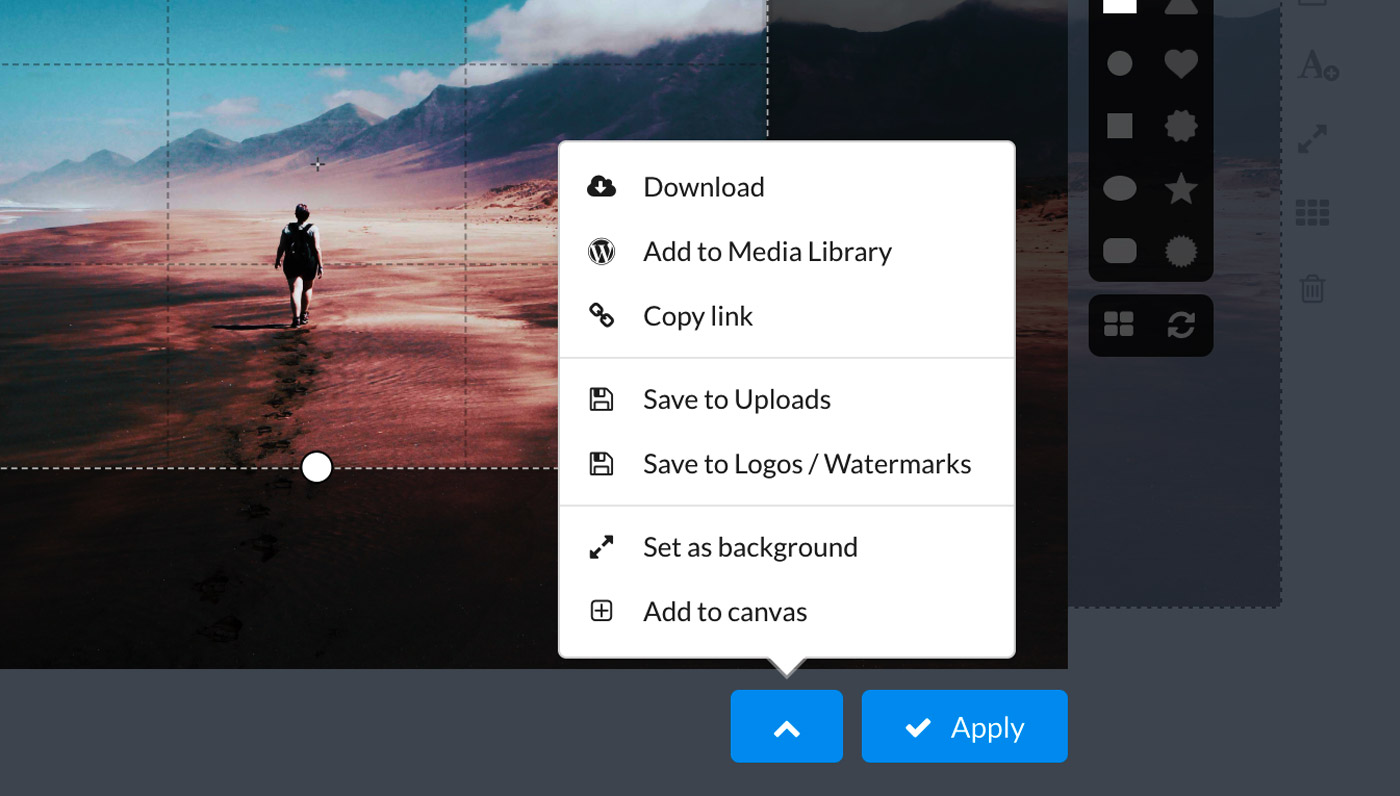"Add a cropped portion of a photo directly to your WordPress site by choosing the ""Add to Media Library"" option"
