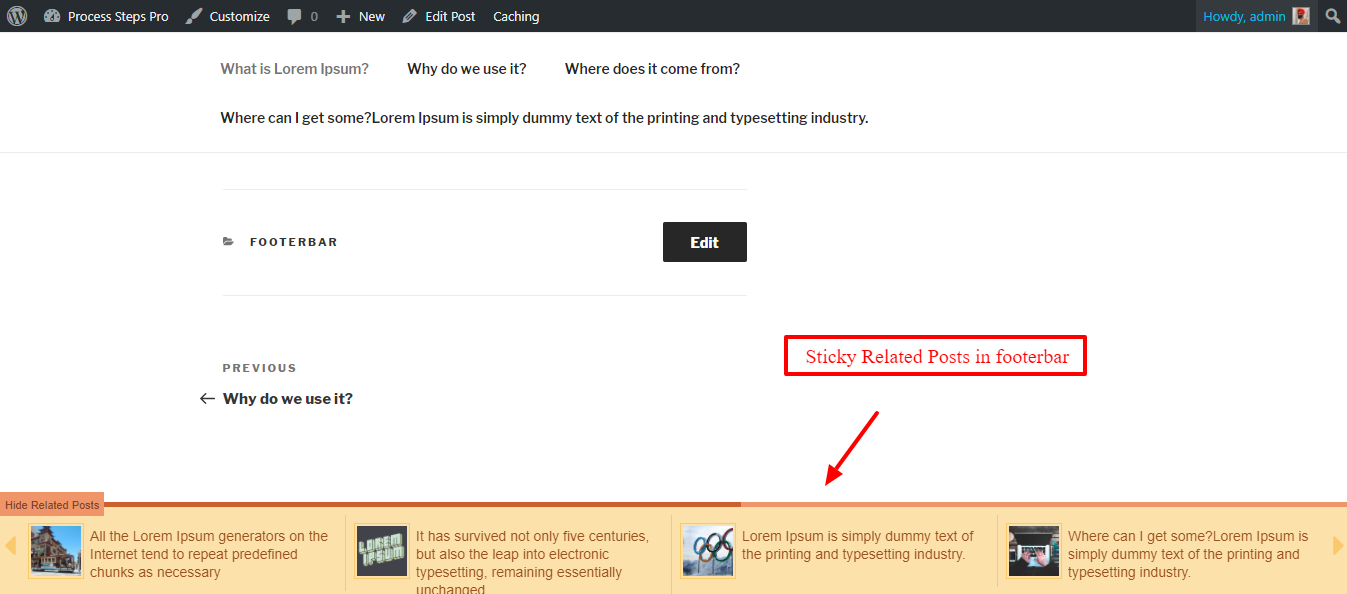 Sticky Related Posts In Footer