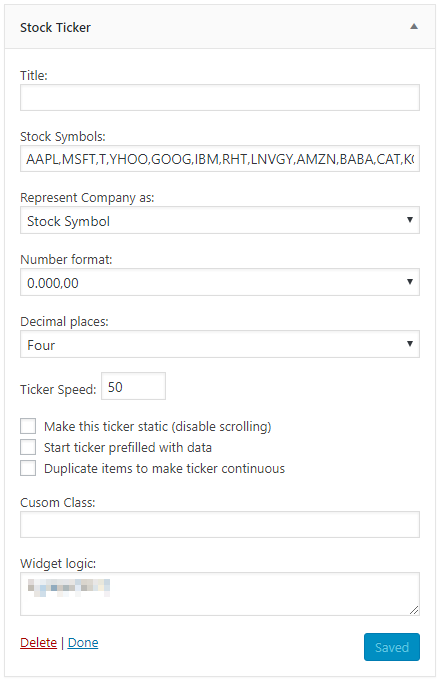 Stock Ticker Wordpress