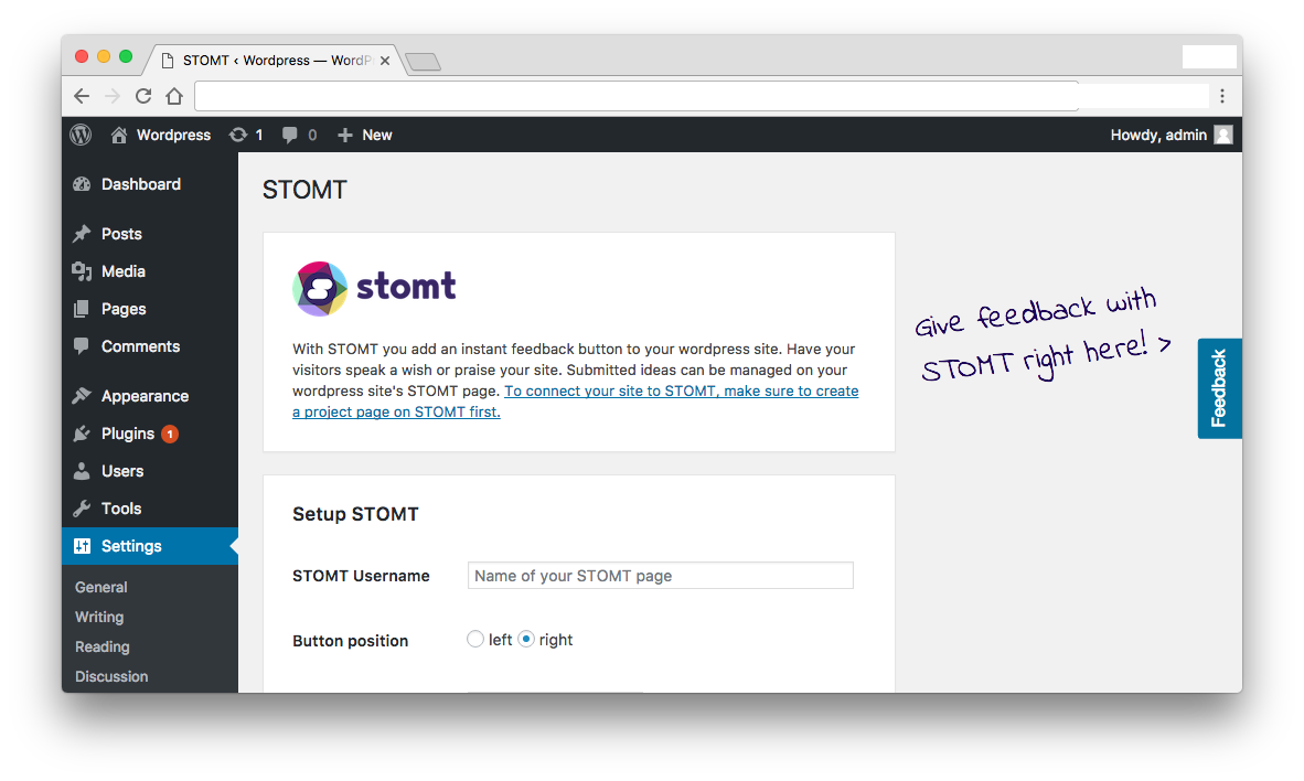 After setting up your STOMT button, it will be added to your wordpress site for visitors to give instant feedback.