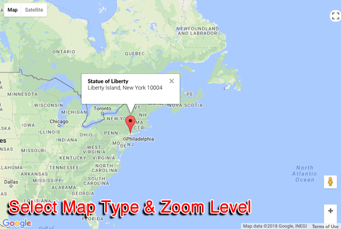 Select Map Type and Zoom Level