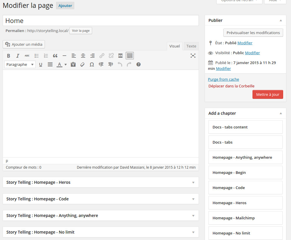 Page / Post Sidebar where Chapter - Macro-template - are available